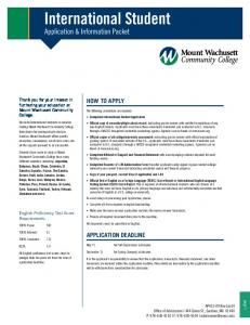 International Student Application & Information Packet