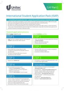 International Student Application Pack (ISAP)