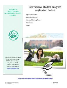 International Student Program Application Packet