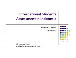 International Students Assessment in Indonesia