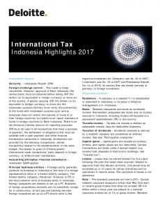 International Tax Indonesia Highlights 2017