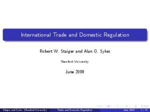 International Trade and Domestic Regulation