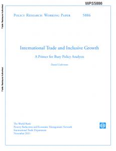 International Trade and Inclusive Growth