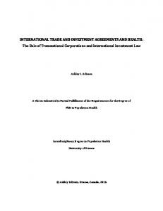 INTERNATIONAL TRADE AND INVESTMENT AGREEMENTS AND HEALTH: The Role of Transnational Corporations and International Investment Law
