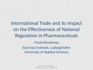 International Trade and its Impact on the Effectiveness of National Regulation in Pharmaceuticals