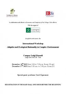 International Workshop Adaptive and Ecological Rationality in Complex Environments