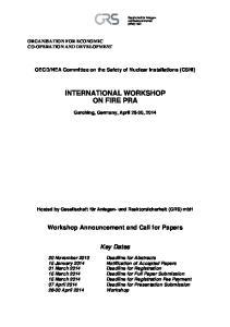 INTERNATIONAL WORKSHOP ON FIRE PRA