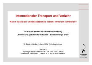 Internationaler Transport und Verkehr