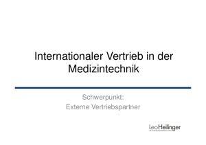 Internationaler Vertrieb in der Medizintechnik. Schwerpunkt: Externe Vertriebspartner