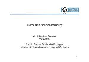 Interne Unternehmensrechnung