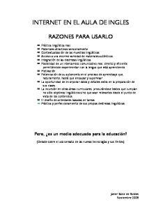 INTERNET EN EL AULA DE INGLES