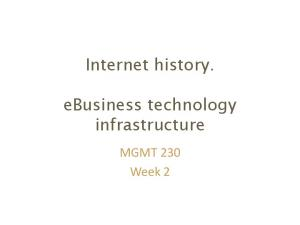 Internet history. ebusiness technology infrastructure. MGMT 230 Week 2