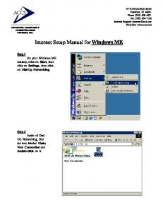 Internet Setup Manual for Windows ME
