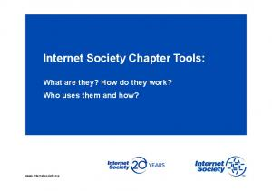 Internet Society Chapter Tools: What are they? How do they work? Who uses them and how?