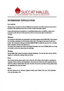 INTERNSHIP APPLICATION