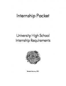Internship Packet. University High School Internship Requirements