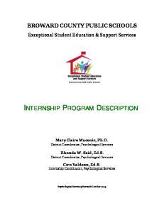 INTERNSHIP PROGRAM DESCRIPTION