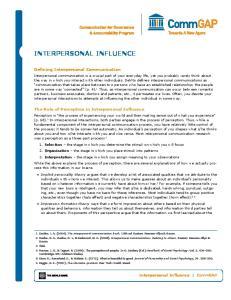 Interpersonal Influence