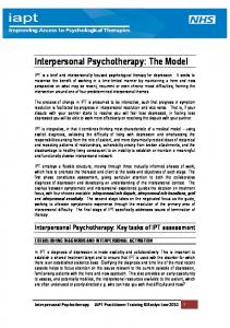 Interpersonal Psychotherapy: The Model