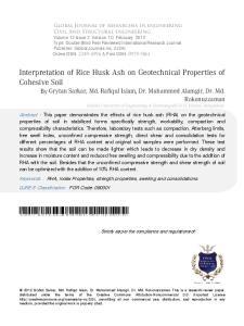 Interpretation of Rice Husk Ash on Geotechnical Properties of Cohesive Soil