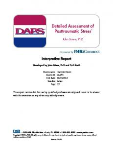 Interpretive Report. Developed by John Briere, PhD and PAR Staff