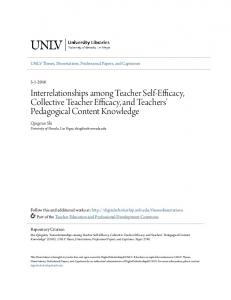 Interrelationships among Teacher Self-Efficacy, Collective Teacher Efficacy, and Teachers Pedagogical Content Knowledge