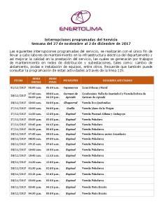 Interrupciones programadas del Servicio Semana del 27 de noviembre al 2 de diciembre de 2017