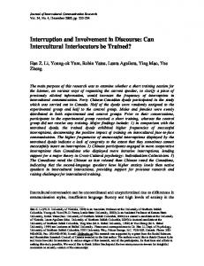 Interruption and Involvement in Discourse: Can Intercultural Interlocutors be Trained?