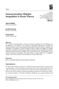 Intersectionality: Multiple Inequalities in Social Theory