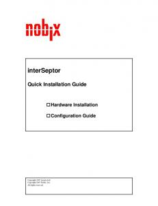 interseptor Quick Installation Guide Hardware Installation Configuration Guide