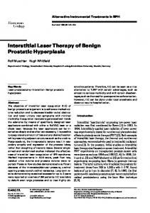 Interstitial Laser Therapy of Benign Prostatic Hyperplasia