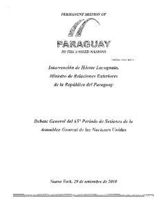 Intervencion de Hector Lacognata, Ministro de Relaciones Exteriores