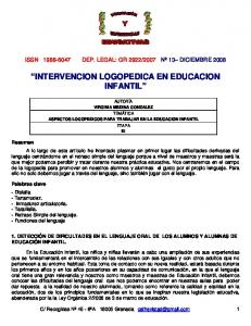 INTERVENCION LOGOPEDICA EN EDUCACION INFANTIL