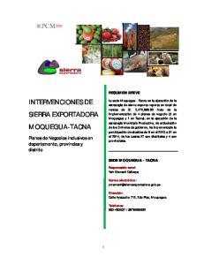 INTERVENCIONES DE SIERRA EXPORTADORA MOQUEGUA-TACNA