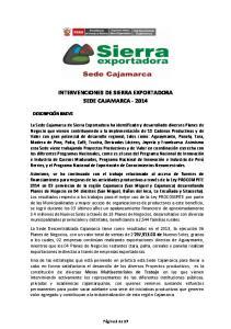INTERVENCIONES DE SIERRA EXPORTADORA SEDE CAJAMARCA