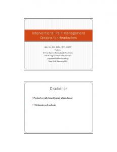 Interventional Pain Management Options for Headaches. Disclaimer