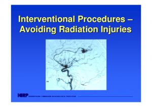 Interventional Procedures Avoiding Radiation Injuries INTERNATIONAL COMMISSION ON RADIOLOGICAL PROTECTION
