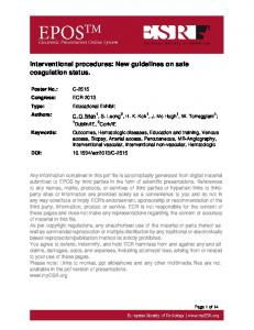 Interventional procedures: New guidelines on safe coagulation status