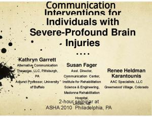 Interventions for Individuals with Severe-Profound Brain Injuries