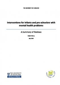 Interventions for infants and pre-schoolers with mental health problems
