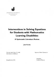Interventions in Solving Equations for Students with Mathematics Learning Disabilities