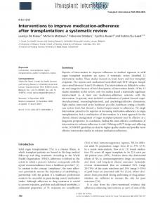 Interventions to improve medication-adherence after transplantation: a systematic review