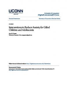 Interventions to Reduce Anxiety for Gifted Children and Adolescents