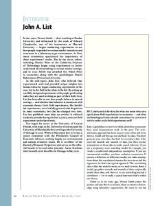 INTERVIEW. John A. List