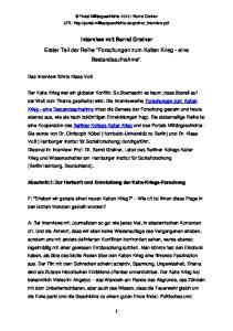 Interview mit Bernd Greiner. Erster Teil der Reihe