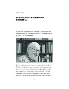 INTERVIEW WITH BERNARD M. ROSENTHAL