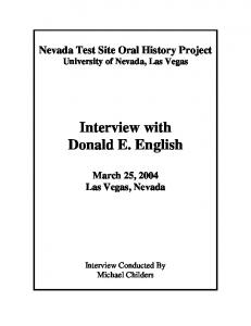 Interview with Donald E. English