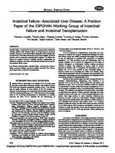 Intestinal Failure Associated Liver Disease: A Position Paper of the ESPGHAN Working Group of Intestinal Failure and Intestinal Transplantation