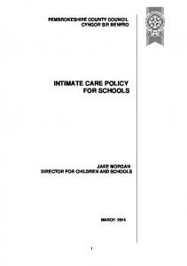INTIMATE CARE POLICY FOR SCHOOLS