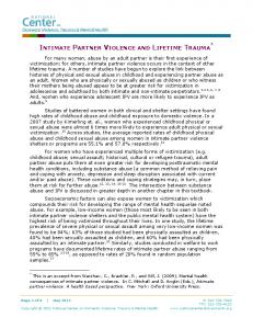INTIMATE PARTNER VIOLENCE AND LIFETIME TRAUMA *